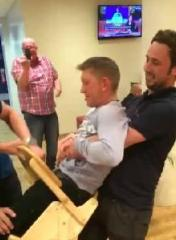 Viral video shows the dangers of grown men trying to fit in high chairs