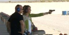Gabby Giffords fires gun, pushes for federal gun legislation