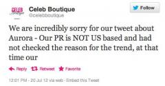 Fashion firm apologizes for 'Aurora' tweet
