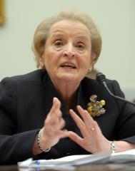 Albright: Pronouncements won't make peace