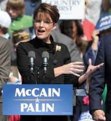 Palin salutes troops at deployment event