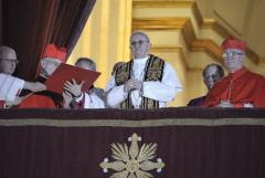 Pope Francis urges courage at first mass