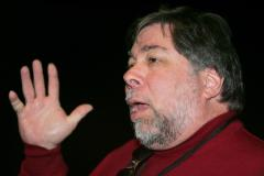 Wozniak, Apple co-founder, waits in line