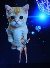 Miley Cyrus performs 'Wrecking Ball' next to a giant lip-syncing cat [VIDEO]