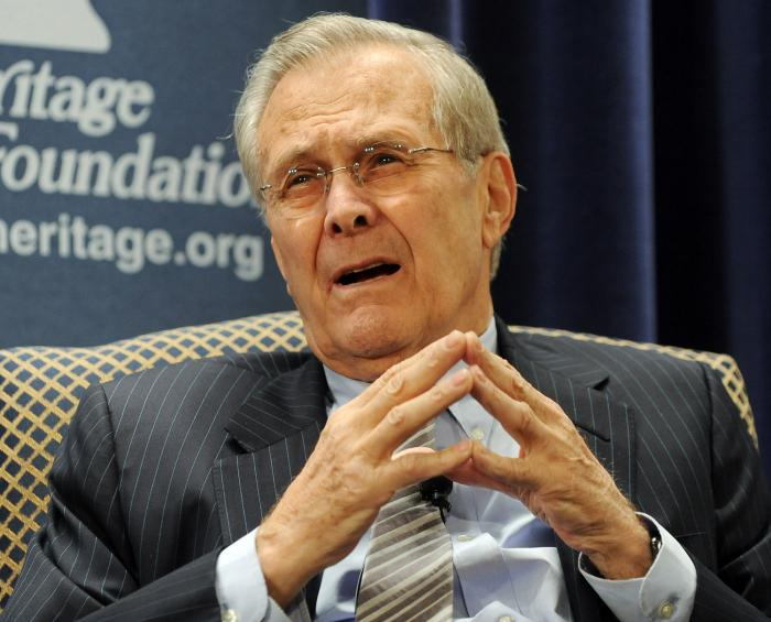 """an analysis of donald rumsfeld as secretary of defense The title of former defense secretary donald h rumsfeld's new memoir, """"known and unknown,"""" comes from a remark he made about whether iraq had."""