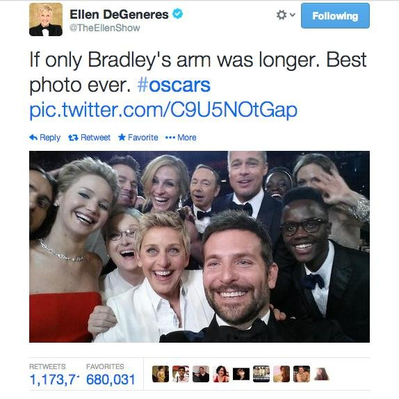 Oscars 2014 Ellen Degeneres Snaps The World 39 S Most Epic