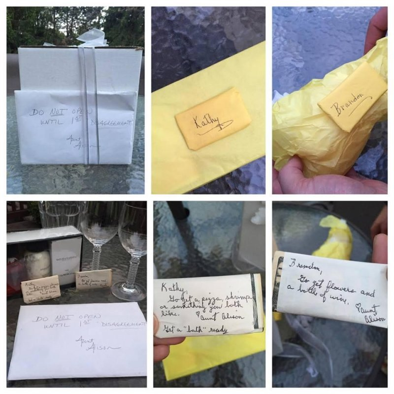 A couple waited 9 years to open this wedding gift