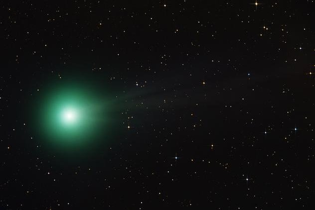 Comet in Night Sky Pass Across Night Sky This