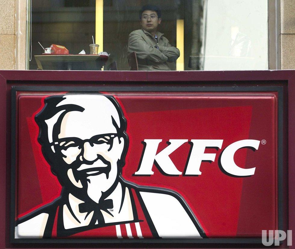 Chinese man eats at KFC in Beijing
