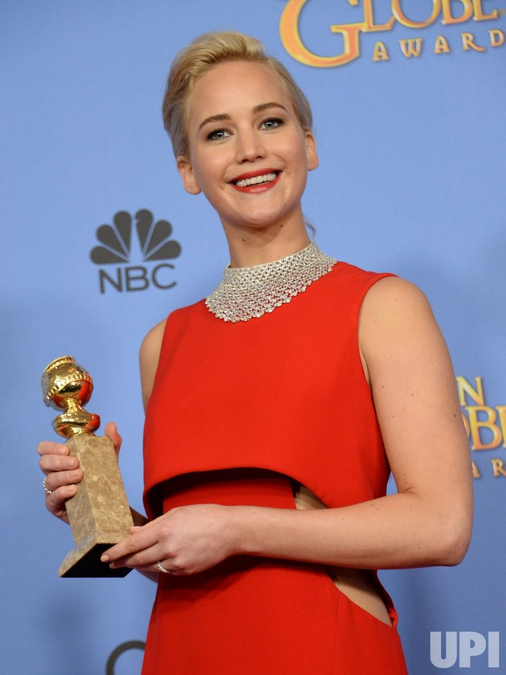 Jennifer Lawrence garners award at the 73rd annual Golden Globe Awards in Beverly Hills