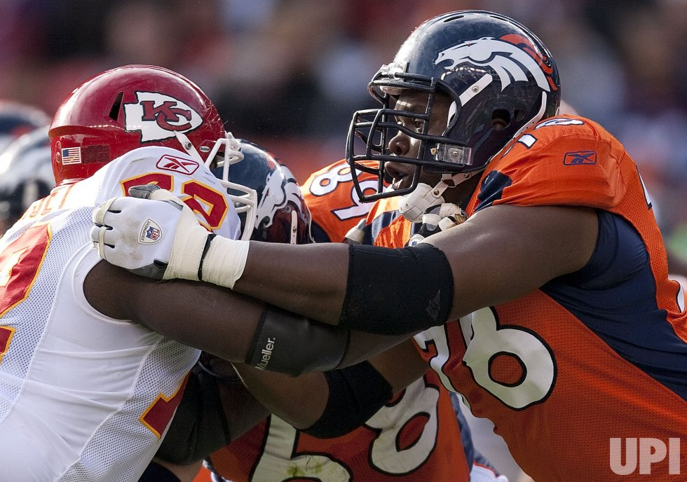 Broncos Clady Blocks Chiefs Dorsey at Invesco Field at Mile High in Denver