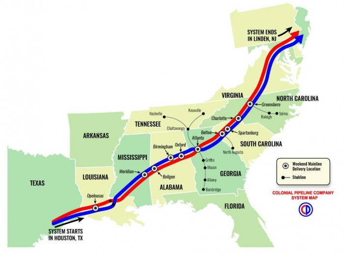 Colonial Pipeline Company System Map Image Courtesy Of Colonial Pipeline