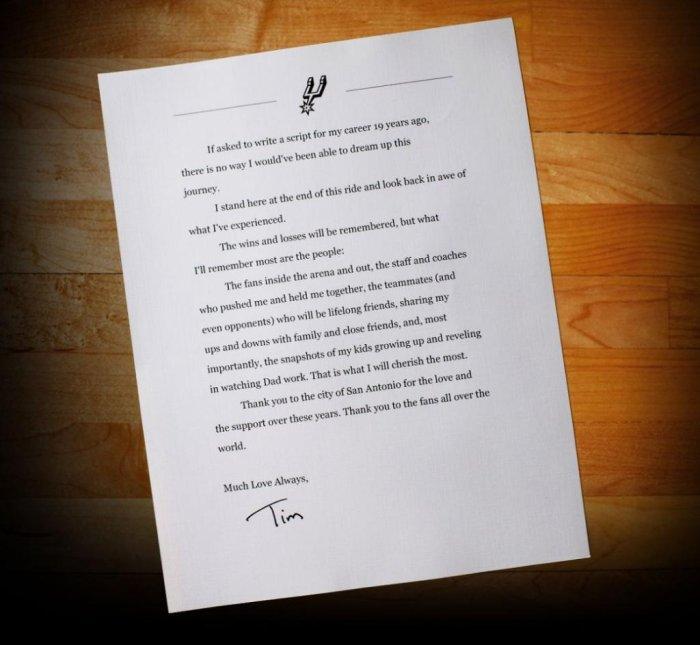 Read Tim Duncan'S Heartfelt Farewell Letter - Upi.Com