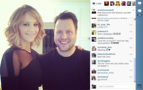 Jennifer Lawrence debuts short new haircut at GLAAD awards