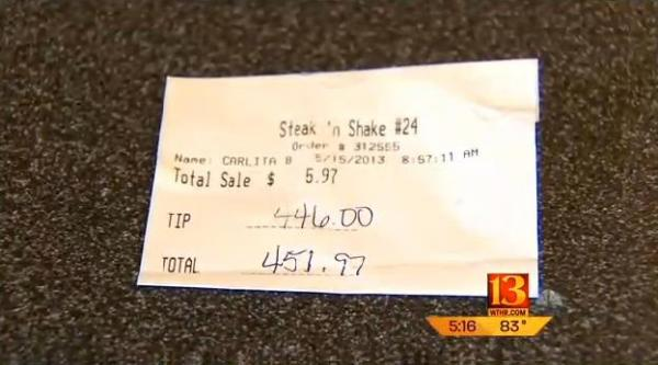 Steak 'n Shake waitress gets $446 tip on $6 bill