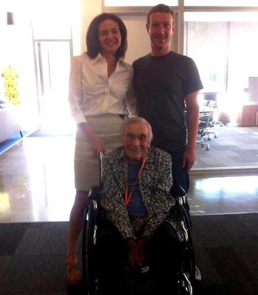 Facebook's oldest user meets Zuckerberg