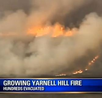 18 firefighters killed by Arizona wildfire, Yarnell on fire