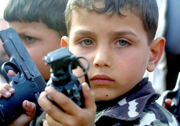 Boy, 7, suspended over imaginary grenade
