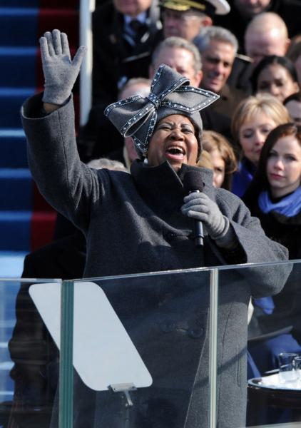 Katy Perry brings tiny Aretha hat to inauguration