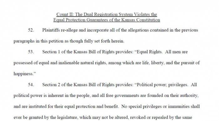 ACLU sues over two-tiered elections planned in Kansas