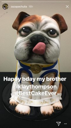 The Golden State Warriors Gifted Klay Thompson With A Cake In Likeness Of His Dog On Thursday Before Beating Dallas Mavericks