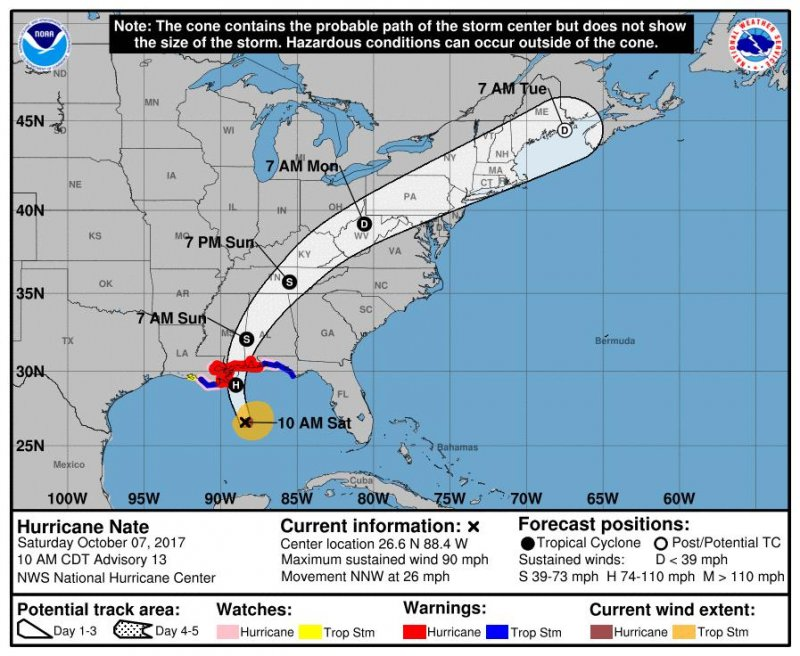 Hurricane Nate Weakens to Tropical Storm After Landfall