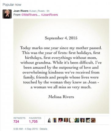 melissa rivers message to fans via the late joan rivers twitter account on the first anniversary of her death photo by joan_riverstwitter