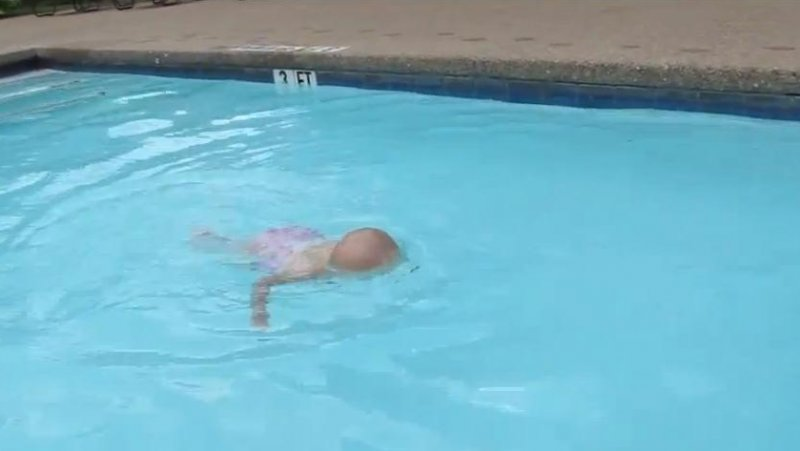Swimming baby video 16 month old crosses pool in viral video 3 month old baby swimming pool
