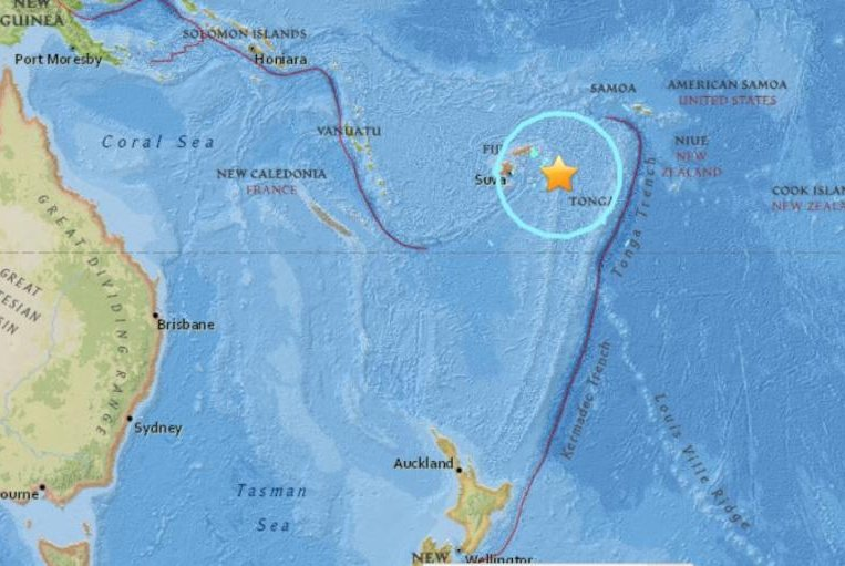 major earthquakes strike near fiji  indonesian island