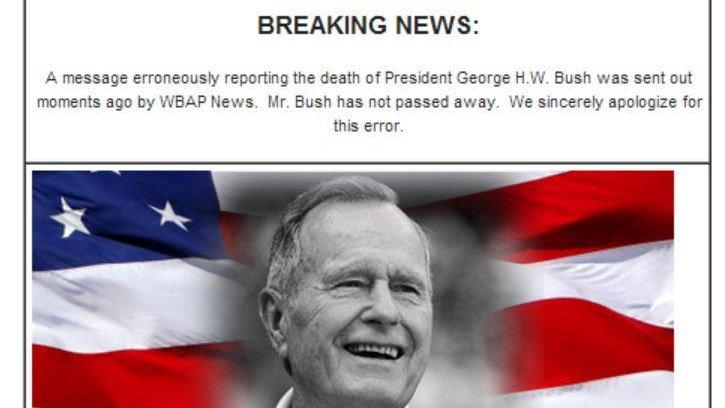 George H W Bush Wrongly Declared Dead By Texas Radio Station Upi Com