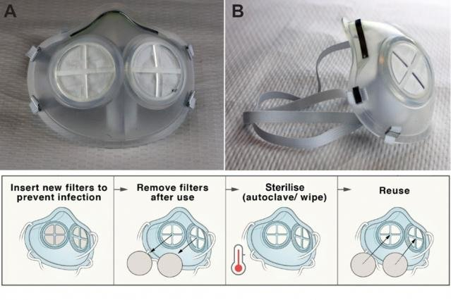 Engineers design reusable silicone rubber face mask with N95 filter