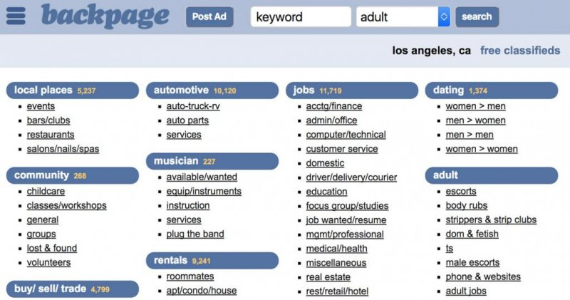 news adult popular classifieds site backpage after senate pressure