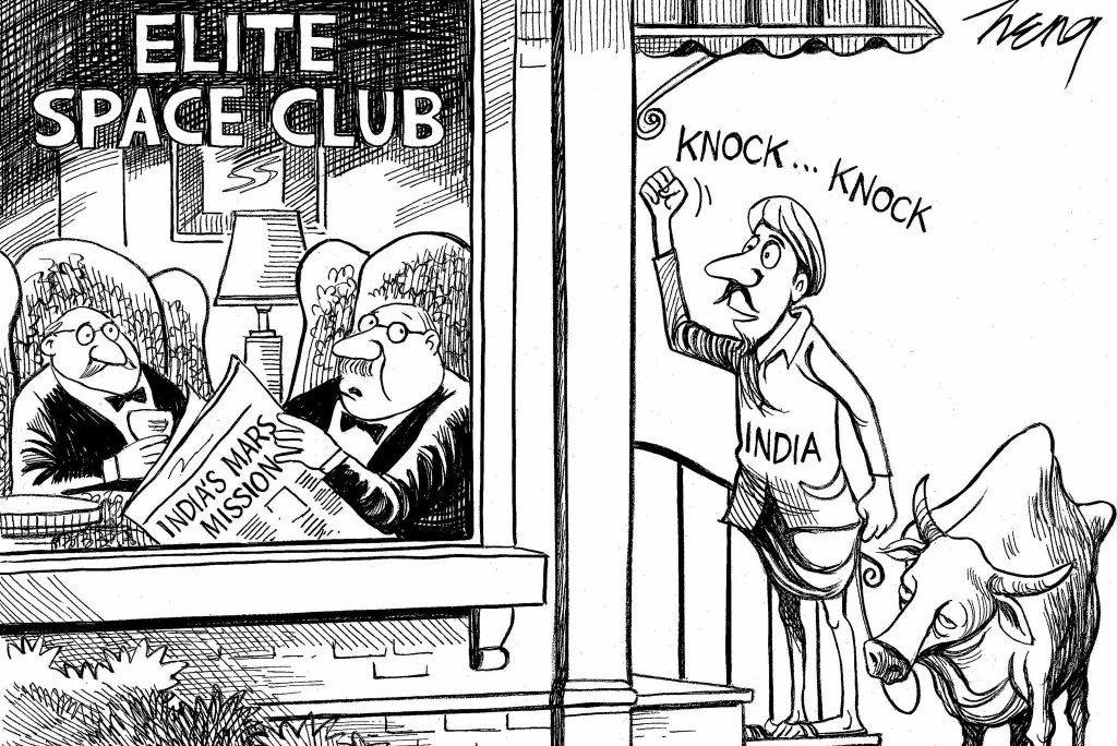 Nyt siger, det er synd for Cartoon Mocking Indiens Mars mission - Upicon-4404