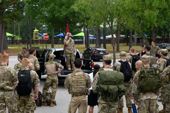 Danish Air Force contingent takes a 15.5-mile hike at Shaw AFB, S.C.