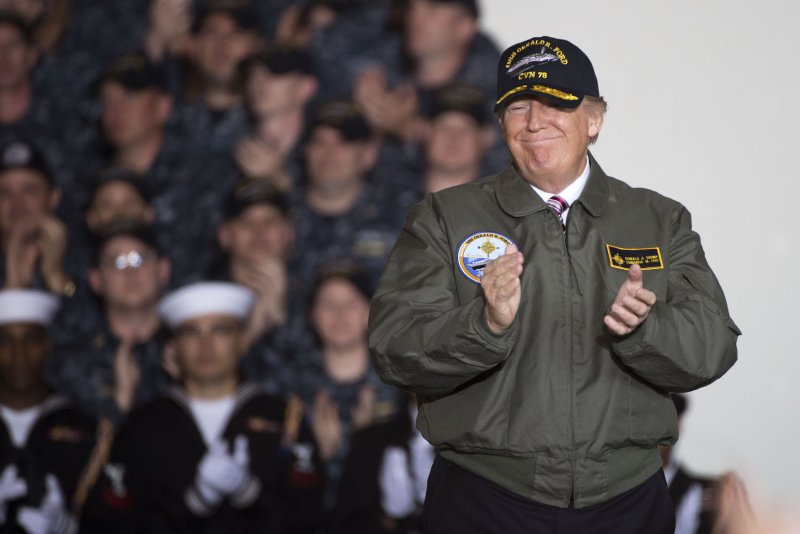 Donald Trump touts military vision on Navy carrier USS Gerald Ford ...
