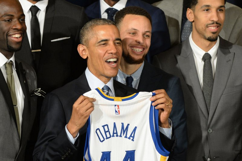 President Obama Meets Golden State Warriors Stephen Curry