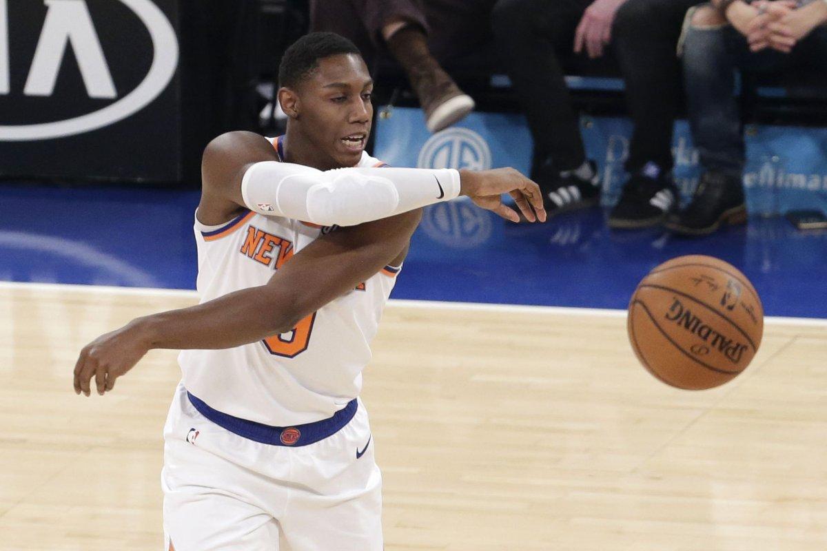 Watch Knicks R J Barrett Gets Rookie Treatment On Dunk