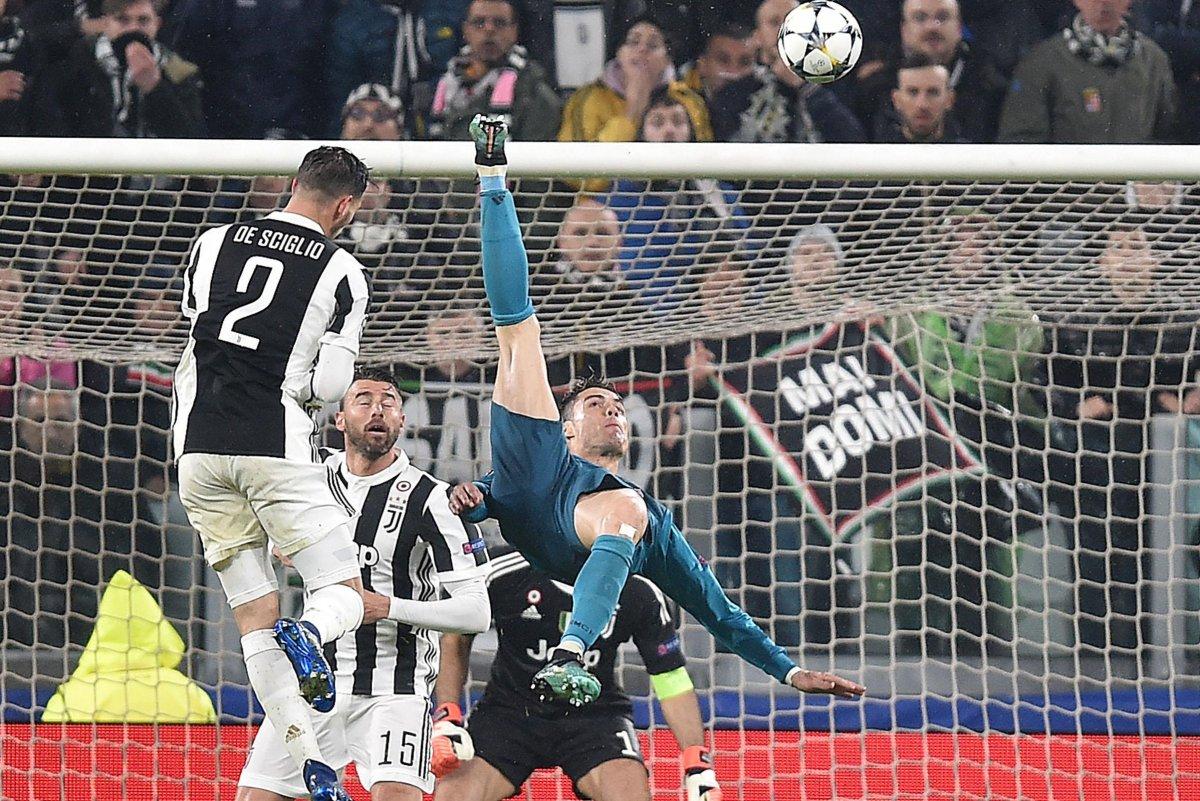 Watch: Ronaldo Scores Off Of Bike In Champions League
