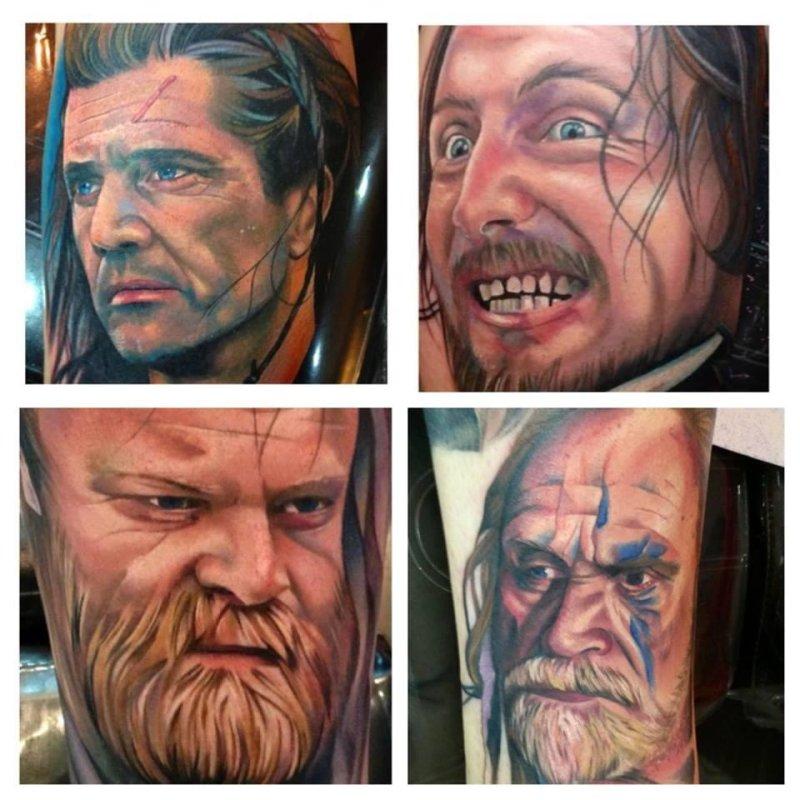Paul Hunter spent more than $2,900 to have four Braveheart characters tattooed on his leg. (Santa Cruz Kustom Club)