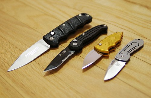 Various switchblades, courtesy of Scott Feldstein via Flickr.