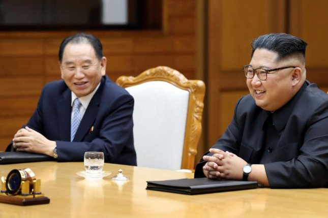 North Korea's Kim Yong Chol (L) is expected to arrive in New York on Tuesday. File Photo courtesy of Republic of Korea Blue House/Yonhap