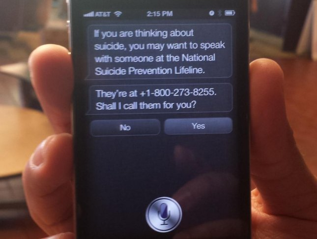 Apple updates iOS digital assistant Siri to respond to a user who indicates he or she is considering suicide by offering to call the National Suicide Prevention Lifeline. (Rafael Bernal/UPI)