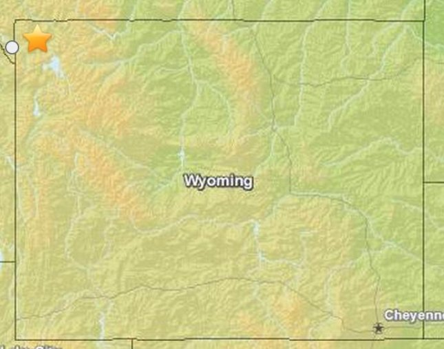 Location of Yellowstone National Park earthquake. (USGS)