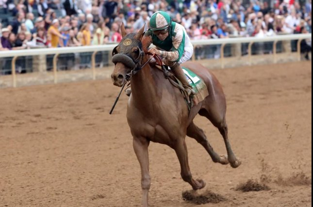 Blue Prize wins Sunday's Grade I Juddmonte Spinster at Keeneland, earning a berth in the Longines Breeders' Cup Distaff. Photo courtesy of Keeneland