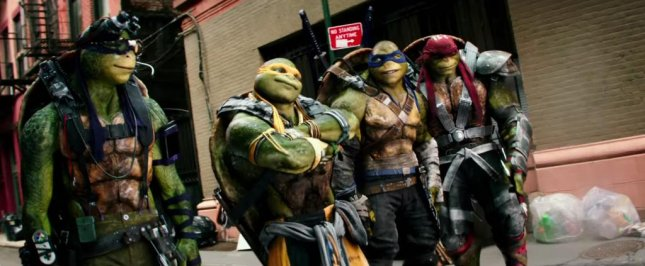 (L-R) Donatello, Michelangelo, Leonardo and Raphael in the latest trailer for Teenage Mutant Ninja Turtles 2 which aired during Super Bowl 50. The footage featured the iconic heroes in a half shell taking on the evil Krang. Photo courtesy of Paramount Pictures/YouTube