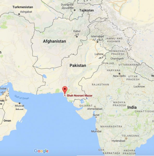At least 30 people are dead and some 100 were injured when a bomb detonated at a popular shrine in Pakistan's Balochistan province, officials said. Map from Google Maps