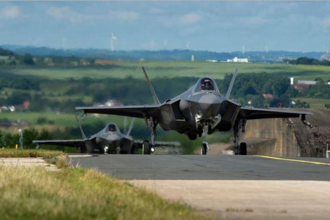 Twelve F-35A fighter planes from Hill AFB, Utah, arrived at Spangdahlem Air Base, Germany, this week for a summer-long deployment. Photo by A1C Valerie Seelye/U.S. Air Force/UPI