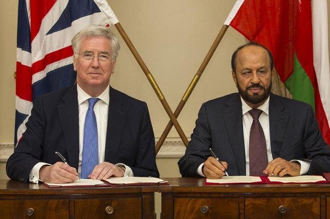 Britain will increase its training teams in Oman by about a third this year, according to announcement made Tuesday after a meeting between U.K. Defense Secretary Michael Fallon (left) and Oman Defense Minister Sayyid Badr bin Saud bin Harub Al Busaidi. Photo courtesy U.K. Ministry of Defense
