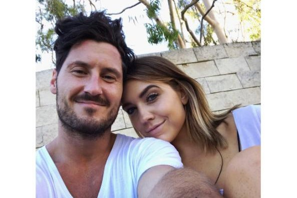 Val Chmerkovskiy (L) and Jenna Johnson on August 8. Chmerkovskiy opened up about his relationship with Johnson in an interview Wednesday. Photo by Jenna Johnson/Instagram