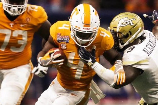 Tennessee was led by running back John Kelly (4), who ran 19 times for 128 yards and four touchdowns. Photo courtesy of Vol Football/Twitter